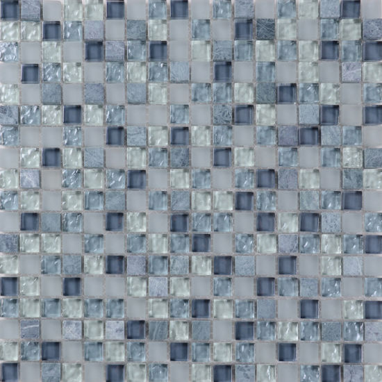 Grey Glazed Glass Mosaic Tile Customized Size QJ003