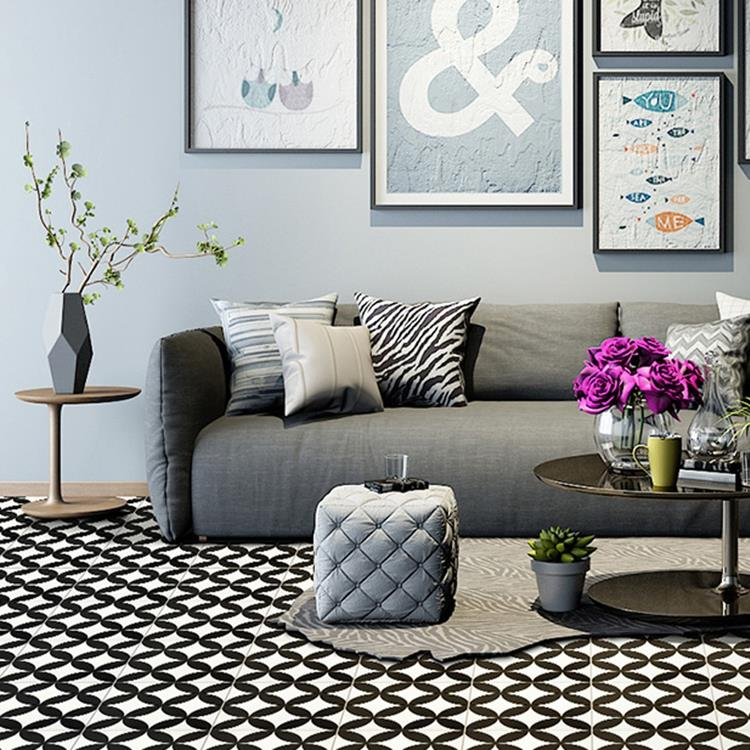 black and white ceramic floor tile