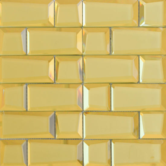 Yellow Polished Glass Mosaic Tile 300 x 300mm YQ1008
