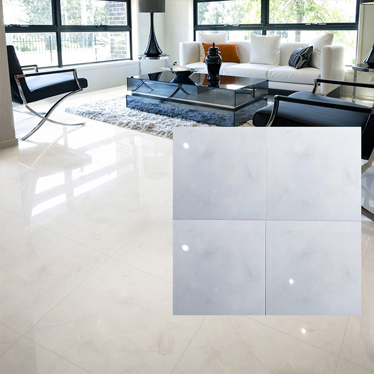 White Polished Ceramic Floor Tile