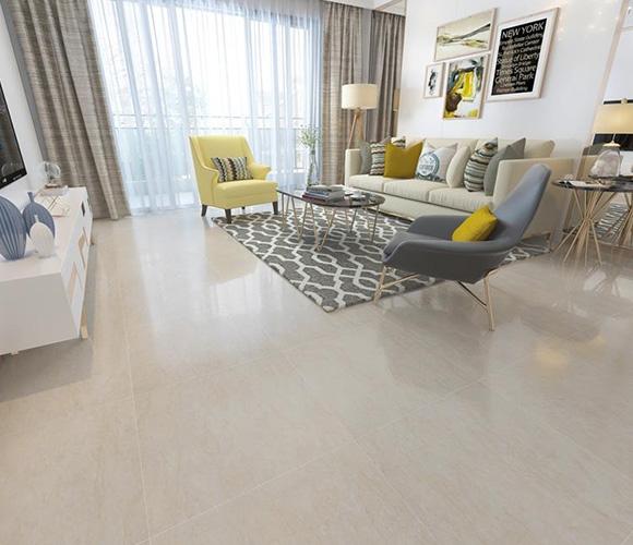 Beige Polished Ceramic Floor Tiles Size