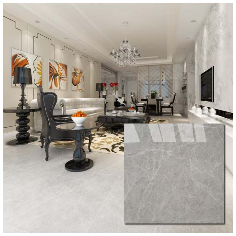 Grey Polished Porcelain Floor Tile 600 x 600mm HB6387