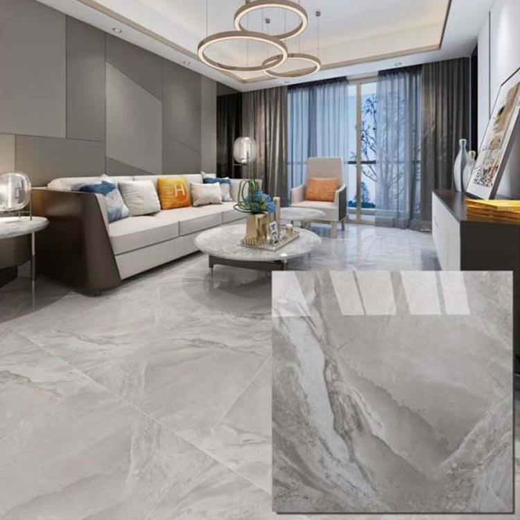 Grey Polished Ceramic Floor Tiles Size 600 X 600mm Model
