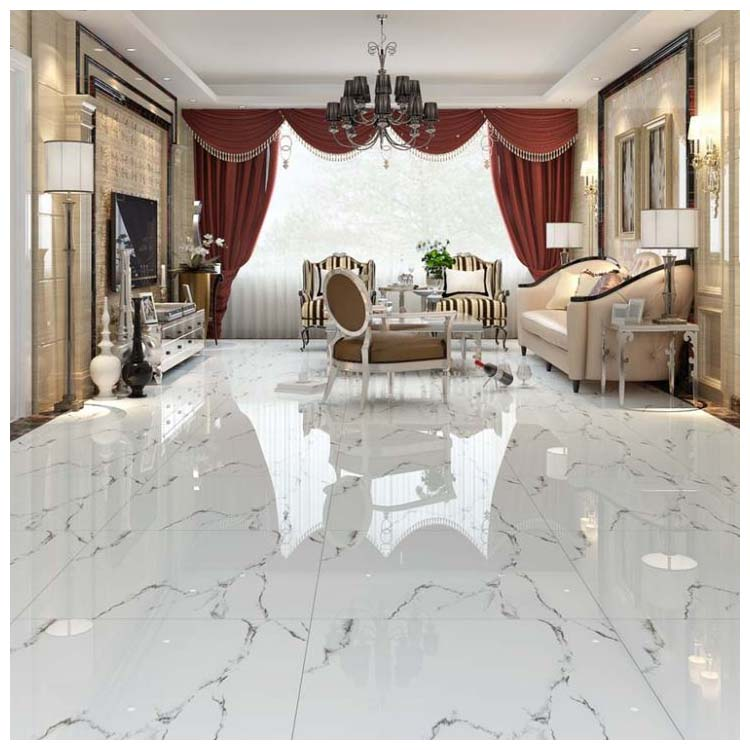 White Polished Ceramic Floor Tiles Size 600 X 600mm Model Hs608gn Hanse Tiles Products