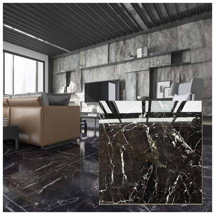 Black Polished Ceramic Floor Tiles Size 600 X 600mm Model