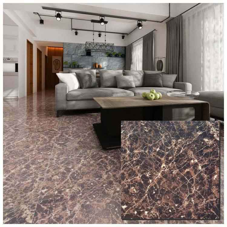 Brown Polished Ceramic Floor Tiles Size