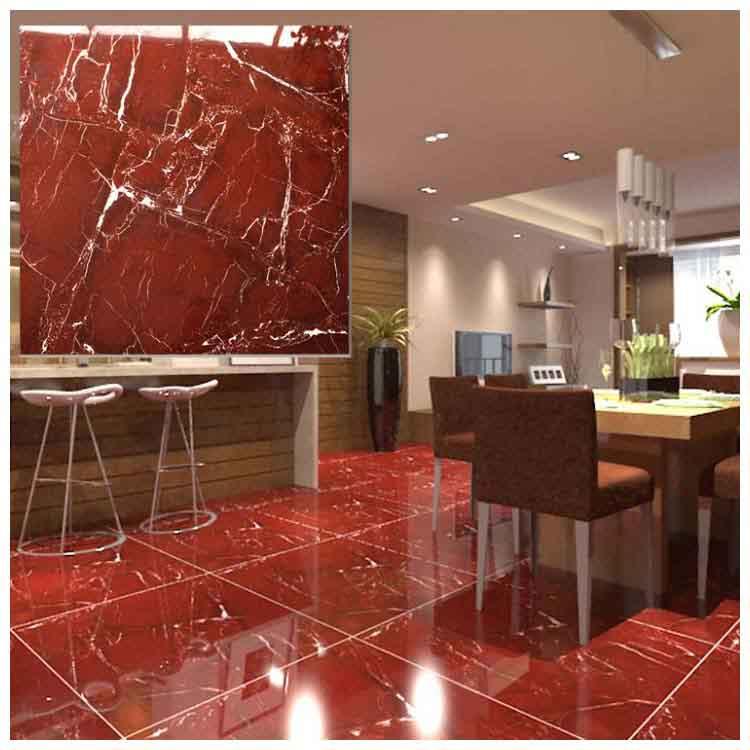 Red Polished Ceramic Floor Tiles Size 600 X 600mm Model Hs650gn
