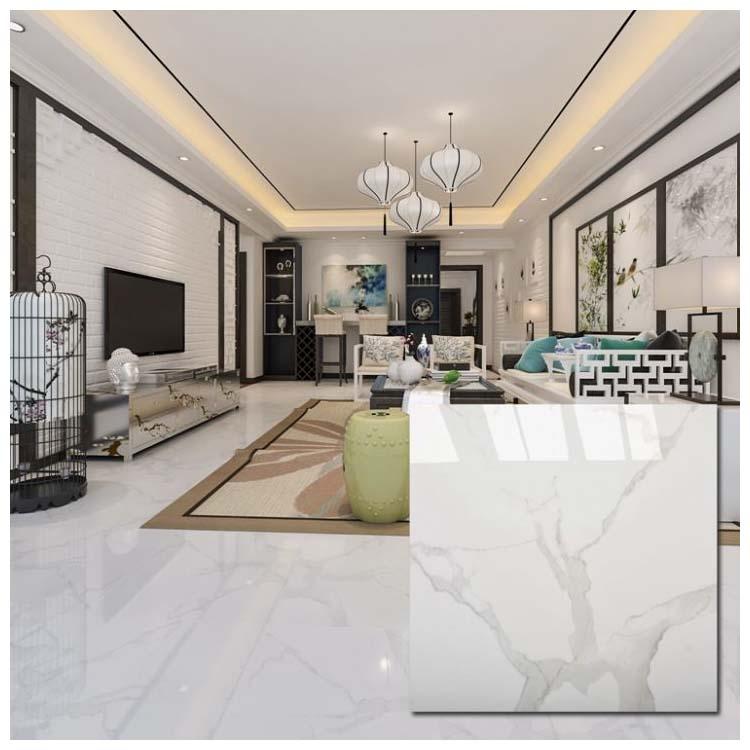 White Polished Ceramic Floor Tiles Size