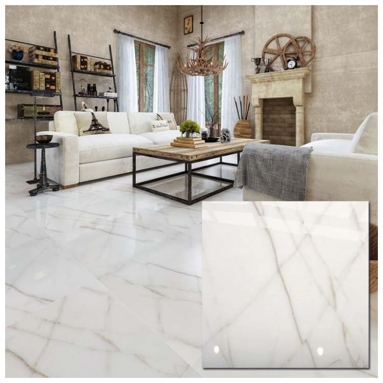 White Polished Ceramic Floor Tiles Size
