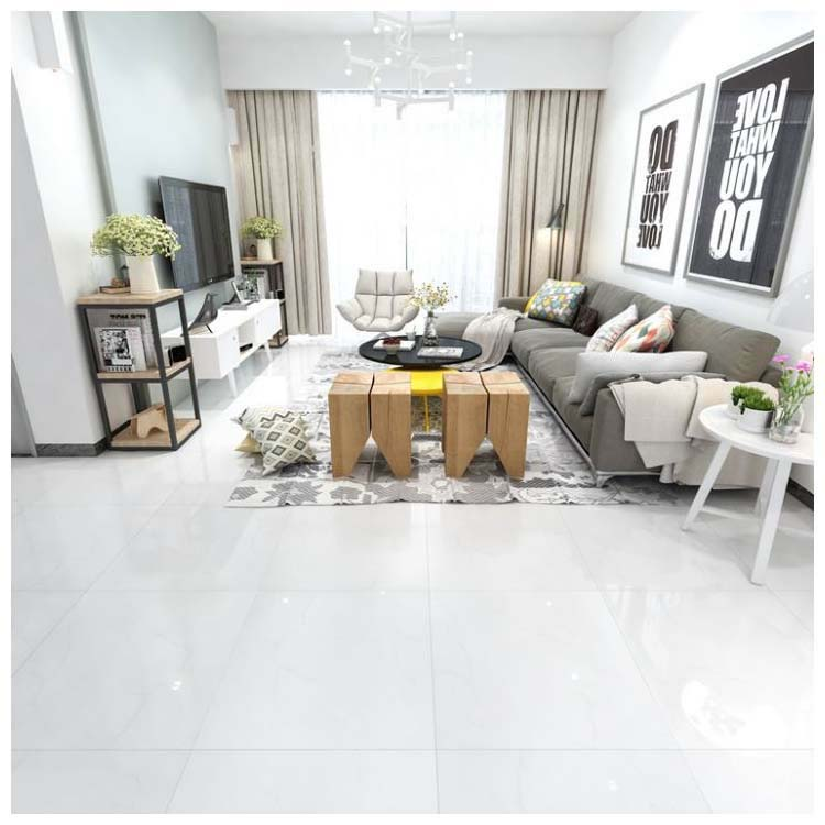 White Polished Ceramic Floor Tile 600 x 600mm HYH8253PA