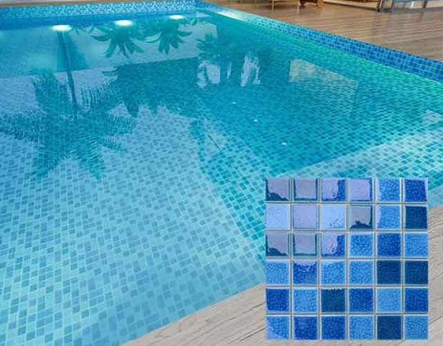 Blue Polished Ceramic Tile