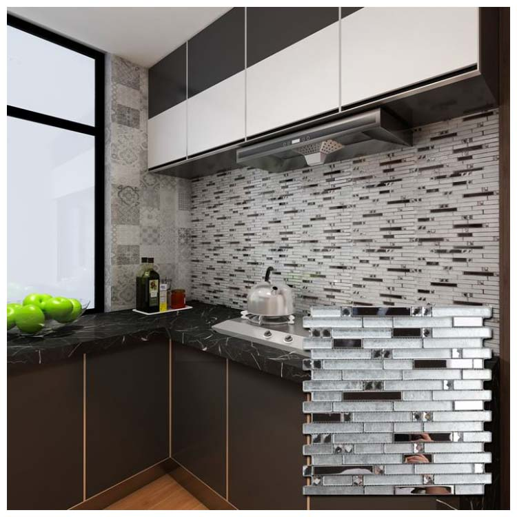 Silver Grey Polished Glass Mosaic Wall Tiles Size 300 X 300mm Model My173 Hanse Tiles Products