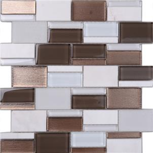 Dark Grey Glazed Glass Mosaic Tile Customized Size Q001