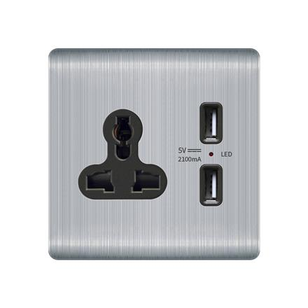 Three-pole multi-function power socket with usb outlet  Q1 2 USB with 3 pin multi-purpose socket