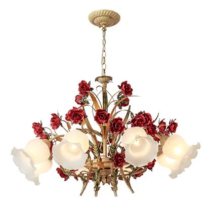 Hanse Red Rose Gold Metal Chandelier  HS-ART9027