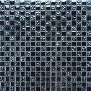 Black Glazed Glass Mosaic Tile Customized Size PY004
