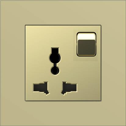 Champagne color surface 3 pin multi plug eu wall power socket  A6-1 way switch multi-function socket