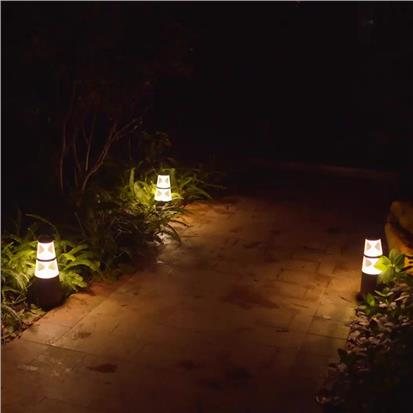 Hourglass column shape led landscape lights with wooden look  HS-CP7037