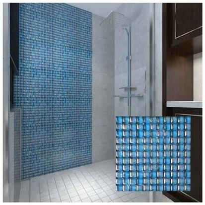 Blue Polished Glass Mosaic Tile 300 x 300mm HSJ015