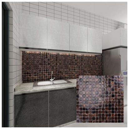 Brown Polished Glass Mosaic Tile 300 x 300mm MC202