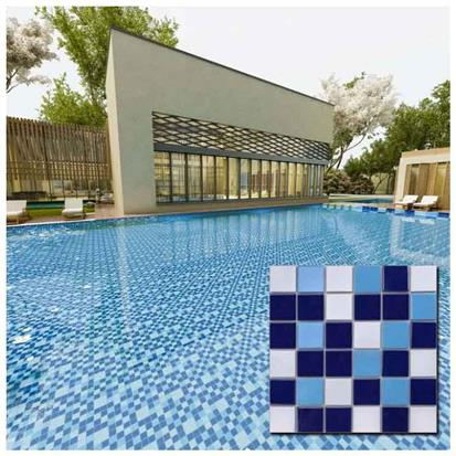 Blue Ceramic Mosaic Swimming Pool Tile 300 x 300mm MD001T