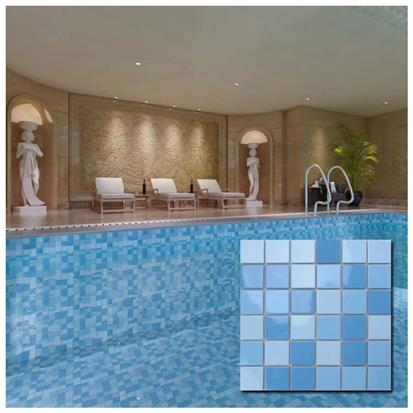 Blue Indoor Ceramic Swimming Pool Mosaic Tile 300 x 300mm MD003T