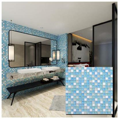 Blue Polished Glass Mosaic Tile 300 x 300mm PY009