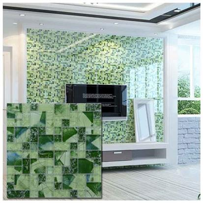 Green Polished Glass Mosaic Tile 300 x 300mm PY040