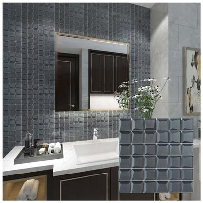 Black Polished Glass Mosaic Tile 300 x 300mm YQ1089