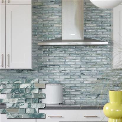 Blue Polished Glass Mosaic Tile 300 x 300mm YQ1097