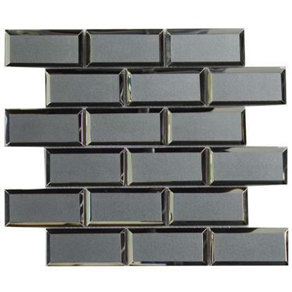 Dark Grey Polished Glass Mosaic Tile 300 x 300mm YQ1099