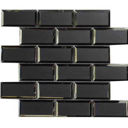 Black Polished Glass Mosaic Tile 300 x 300mm YQ1102
