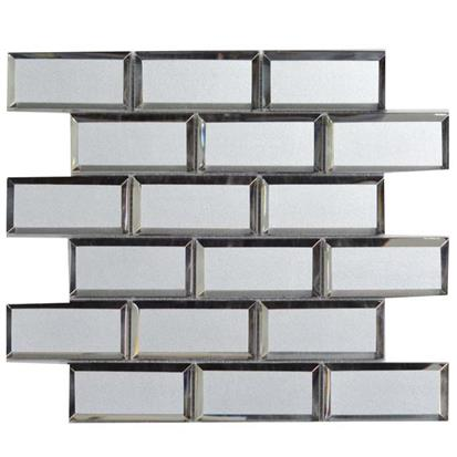 Silver Grey Polished Glass Mosaic Tile 300 x 300mm YQ1110