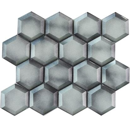 Dark Grey Polished Glass Mosaic Tile 300 x 300mm YQ1119