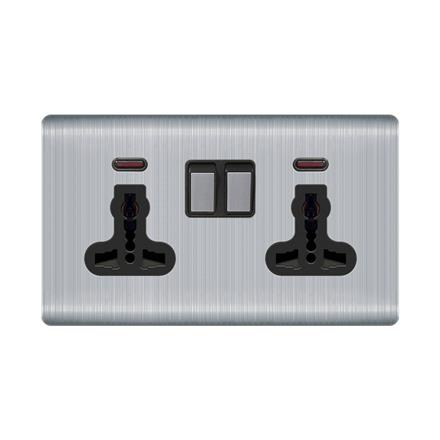 13A 2 way switch electrical wall sockets double with indicator  Q1 2way switch socket with indicator light