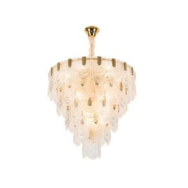 Hanse Crystal Round Glass Droplet Brass Pendant Light  HS091A-490