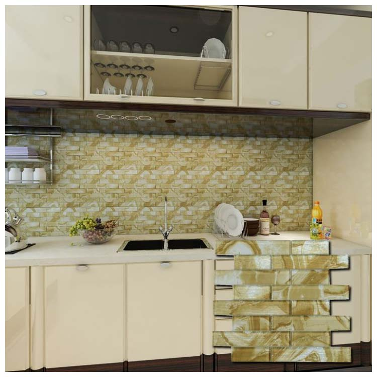 Yellow Polished Glass Mosaic Tile 300 x 300mm YQ001