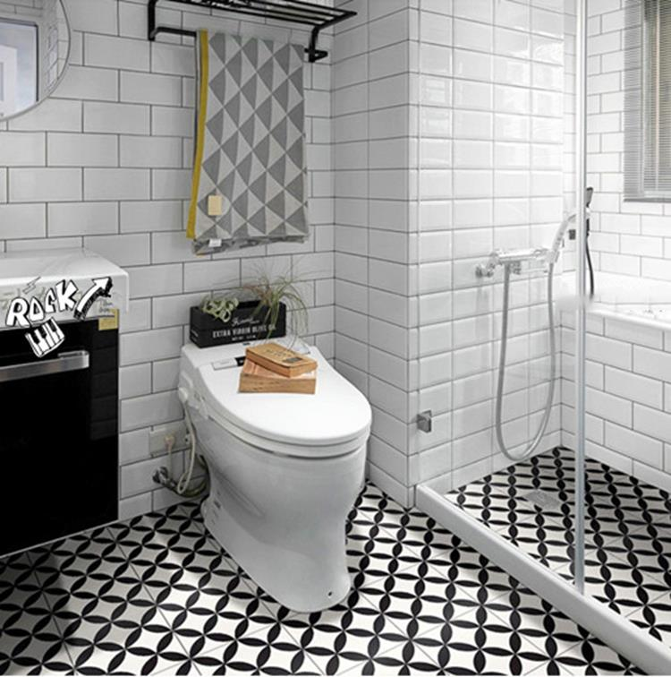 black and white bathroom ceramic floor tile